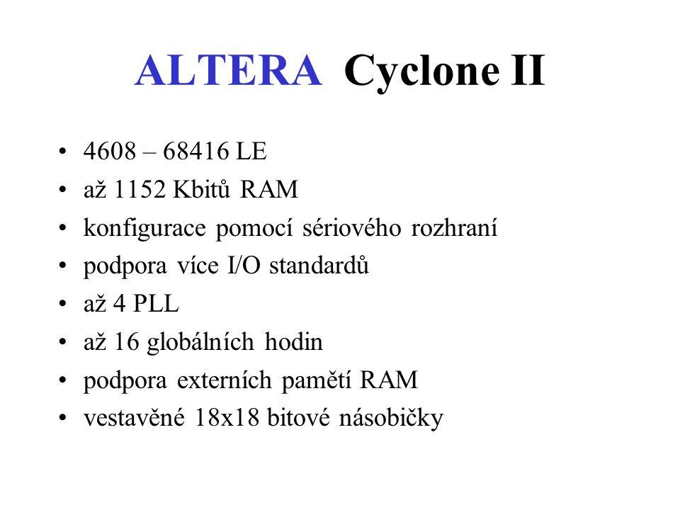 ALTERA Cyclone II 4608 – 68416 LE až 1152 Kbitů RAM konfigurace pomocí sériového rozhraní podpora více I/O standardů až 4 PLL až 16 globálních hodin podpora externích pamětí RAM vestavěné 18x18 bitové násobičky