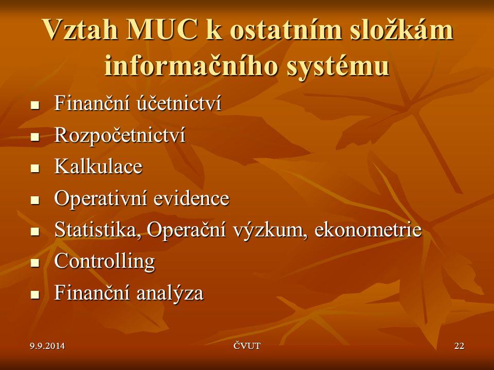 Vztah MUC k ostatním složkám informačního systému Finanční účetnictví Finanční účetnictví Rozpočetnictví Rozpočetnictví Kalkulace Kalkulace Operativní