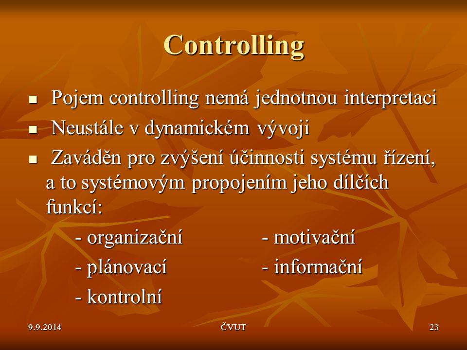 Controlling Pojem controlling nemá jednotnou interpretaci Pojem controlling nemá jednotnou interpretaci Neustále v dynamickém vývoji Neustále v dynami