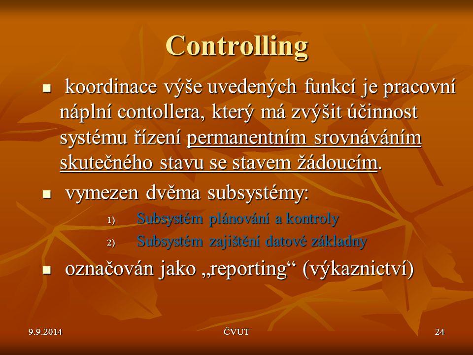 Controlling koordinace výše uvedených funkcí je pracovní náplní contollera, který má zvýšit účinnost systému řízení permanentním srovnáváním skutečnéh