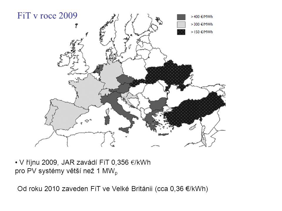 V říjnu 2009, JAR zavádí FiT 0,356 € /kWh pro PV systémy větší než 1 MW p Od roku 2010 zaveden FiT ve Velké Británii (cca 0,36 €/kWh) FiT v roce 2009
