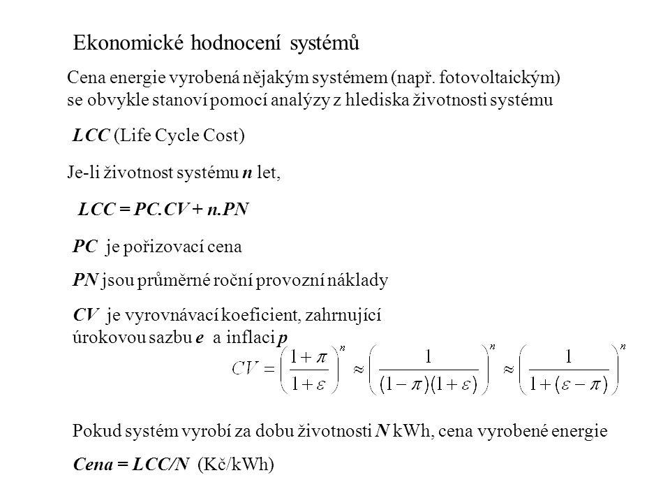 Ekonomické hodnocení systémů Cena energie vyrobená nějakým systémem (např.