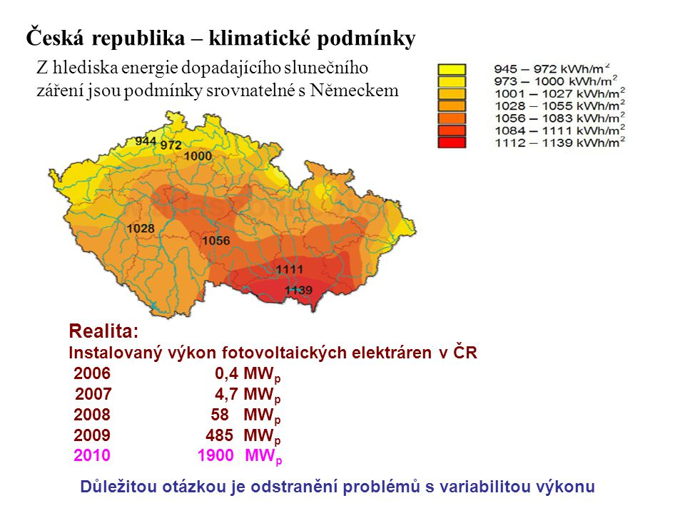 Česká republika – klimatické podmínky Z hlediska energie dopadajícího slunečního záření jsou podmínky srovnatelné s Německem Realita: Instalovaný výkon fotovoltaických elektráren v ČR 2006 0,4 MW p 2007 4,7 MW p 2008 58 MW p 2009 485 MW p 2010 1900 MW p Důležitou otázkou je odstranění problémů s variabilitou výkonu