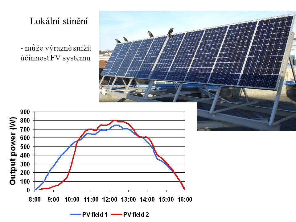 Lokální stínění - může výrazně snížit účinnost FV systému