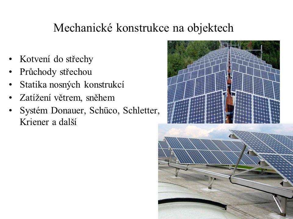 Mechanické konstrukce na objektech Kotvení do střechy Průchody střechou Statika nosných konstrukcí Zatížení větrem, sněhem Systém Donauer, Schüco, Schletter, Kriener a další