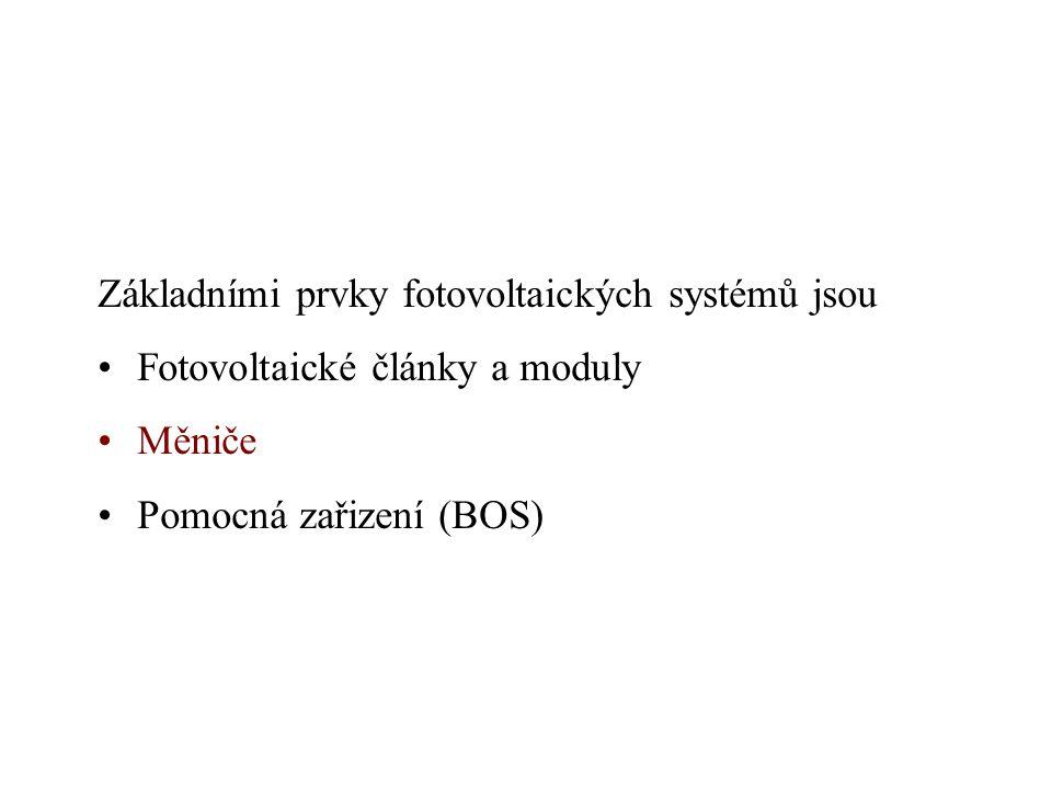 Základními prvky fotovoltaických systémů jsou Fotovoltaické články a moduly Měniče Pomocná zařizení (BOS)