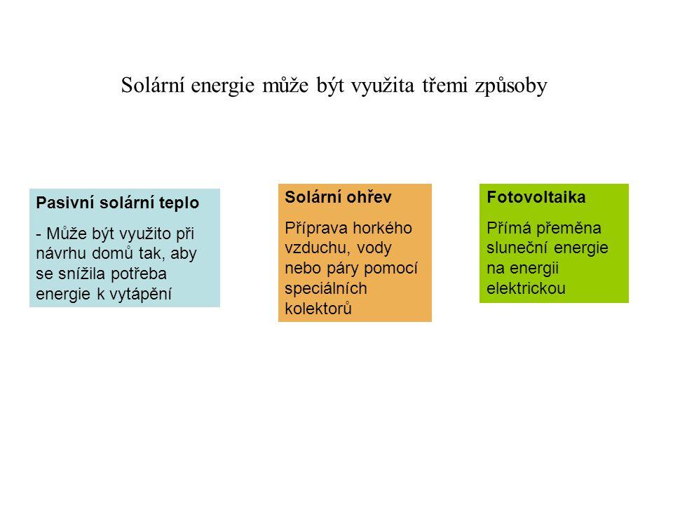 Solární energie může být využita třemi způsoby Pasivní solární teplo - Může být využito při návrhu domů tak, aby se snížila potřeba energie k vytápění Solární ohřev Příprava horkého vzduchu, vody nebo páry pomocí speciálních kolektorů Fotovoltaika Přímá přeměna sluneční energie na energii elektrickou