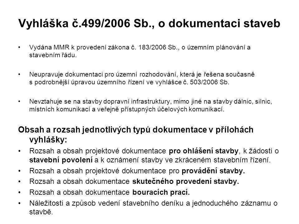 Vyhláška č.499/2006 Sb., o dokumentaci staveb Vydána MMR k provedení zákona č. 183/2006 Sb., o územním plánování a stavebním řádu. Neupravuje dokument