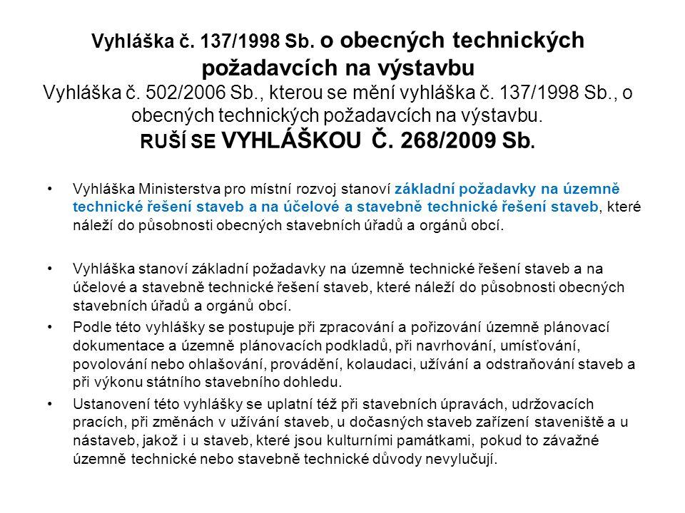 Vyhláška č. 137/1998 Sb. o obecných technických požadavcích na výstavbu Vyhláška č. 502/2006 Sb., kterou se mění vyhláška č. 137/1998 Sb., o obecných