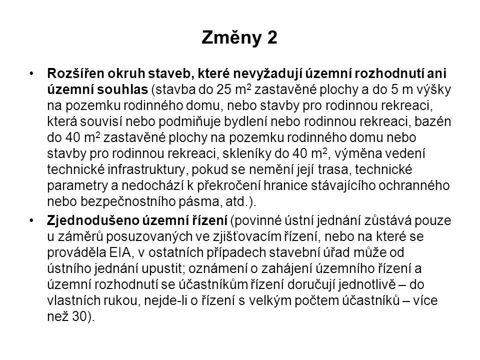 Změny 2 Rozšířen okruh staveb, které nevyžadují územní rozhodnutí ani územní souhlas (stavba do 25 m 2 zastavěné plochy a do 5 m výšky na pozemku rodi