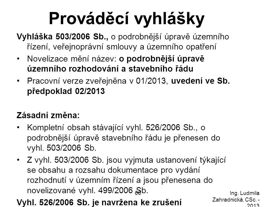 Prováděcí vyhlášky Vyhláška 503/2006 Sb., o podrobnější úpravě územního řízení, veřejnoprávní smlouvy a územního opatření Novelizace mění název: o pod