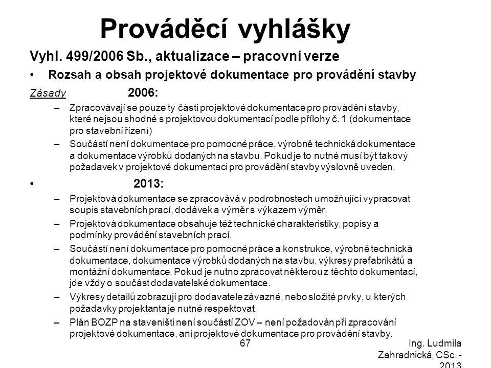 Prováděcí vyhlášky Vyhl. 499/2006 Sb., aktualizace – pracovní verze Rozsah a obsah projektové dokumentace pro provádění stavby Zásady 2006: –Zpracováv