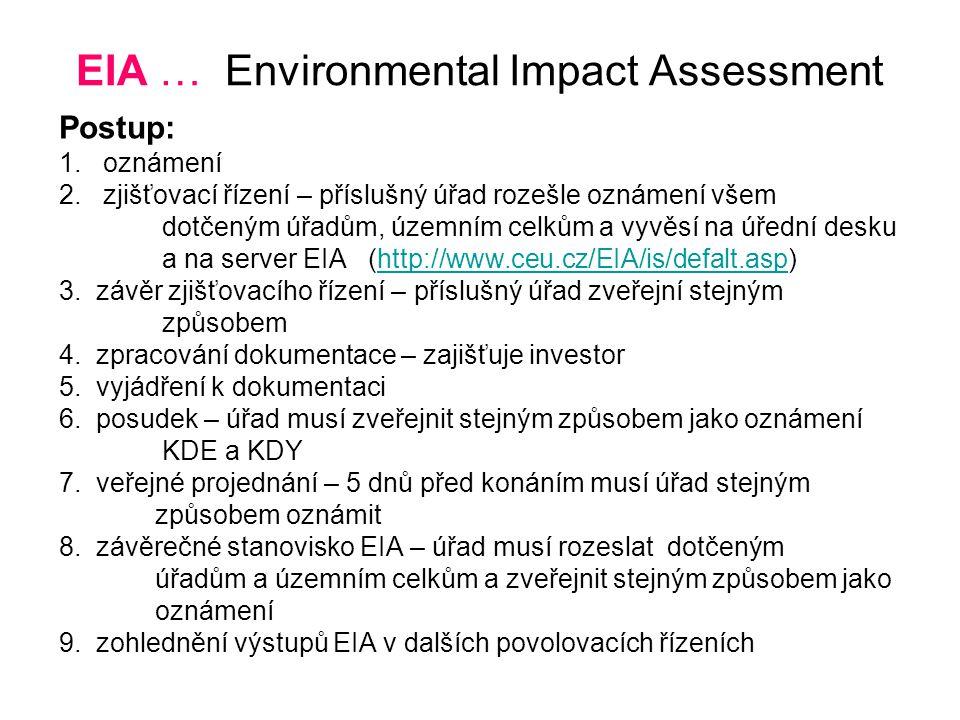 EIA … Environmental Impact Assessment Postup: 1. oznámení 2. zjišťovací řízení – příslušný úřad rozešle oznámení všem dotčeným úřadům, územním celkům