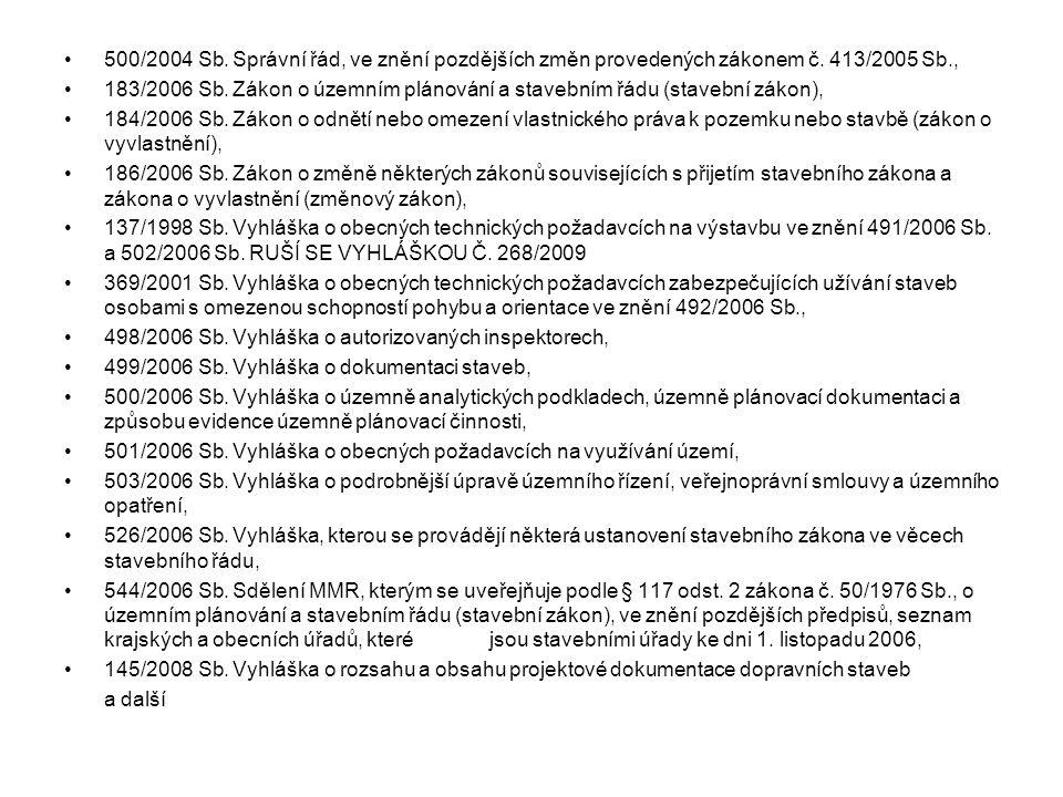 500/2004 Sb. Správní řád, ve znění pozdějších změn provedených zákonem č. 413/2005 Sb., 183/2006 Sb. Zákon o územním plánování a stavebním řádu (stave