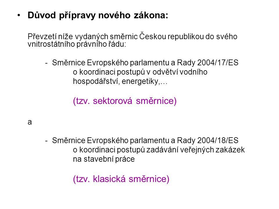 Důvod přípravy nového zákona: Převzetí níže vydaných směrnic Českou republikou do svého vnitrostátního právního řádu: - Směrnice Evropského parlamentu