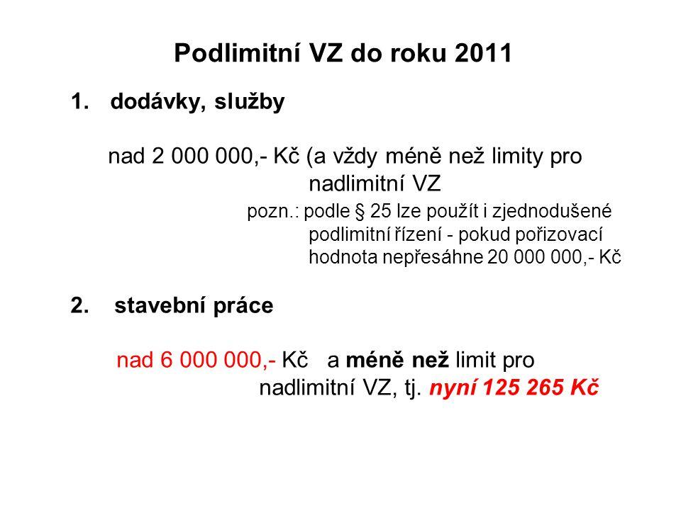 Podlimitní VZ do roku 2011 1.dodávky, služby nad 2 000 000,- Kč (a vždy méně než limity pro nadlimitní VZ pozn.: podle § 25 lze použít i zjednodušené