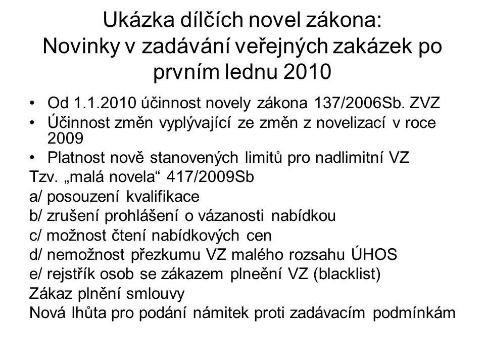 Ukázka dílčích novel zákona: Novinky v zadávání veřejných zakázek po prvním lednu 2010 Od 1.1.2010 účinnost novely zákona 137/2006Sb. ZVZ Účinnost změ