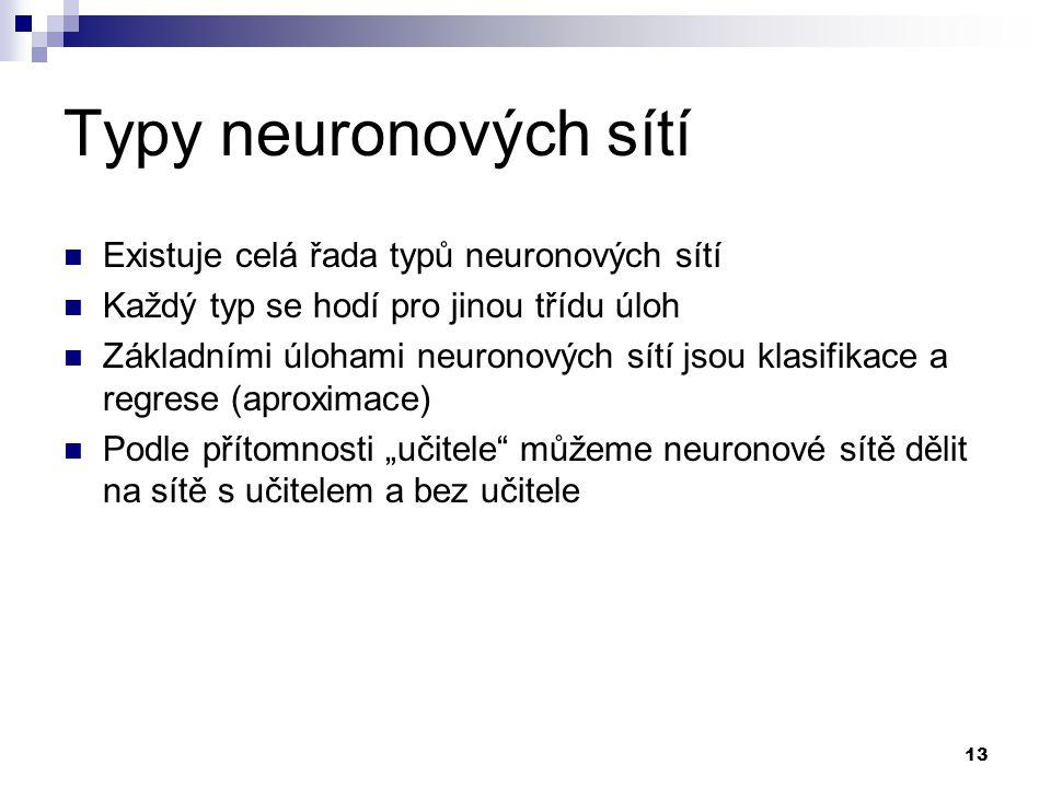 13 Typy neuronových sítí Existuje celá řada typů neuronových sítí Každý typ se hodí pro jinou třídu úloh Základními úlohami neuronových sítí jsou klas