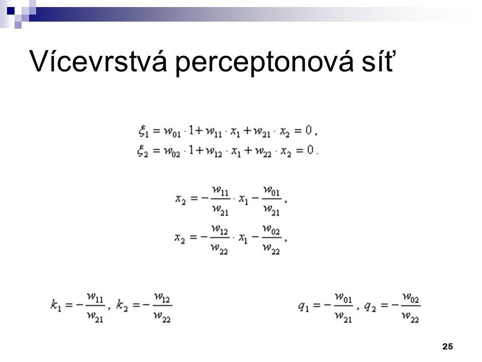 25 Vícevrstvá perceptonová síť