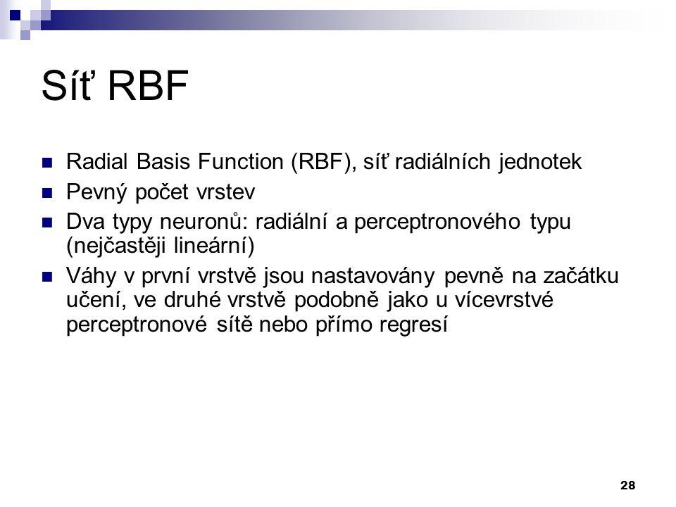 28 Síť RBF Radial Basis Function (RBF), síť radiálních jednotek Pevný počet vrstev Dva typy neuronů: radiální a perceptronového typu (nejčastěji lineární) Váhy v první vrstvě jsou nastavovány pevně na začátku učení, ve druhé vrstvě podobně jako u vícevrstvé perceptronové sítě nebo přímo regresí