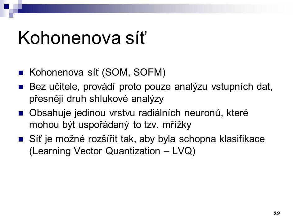 32 Kohonenova síť Kohonenova síť (SOM, SOFM) Bez učitele, provádí proto pouze analýzu vstupních dat, přesněji druh shlukové analýzy Obsahuje jedinou v