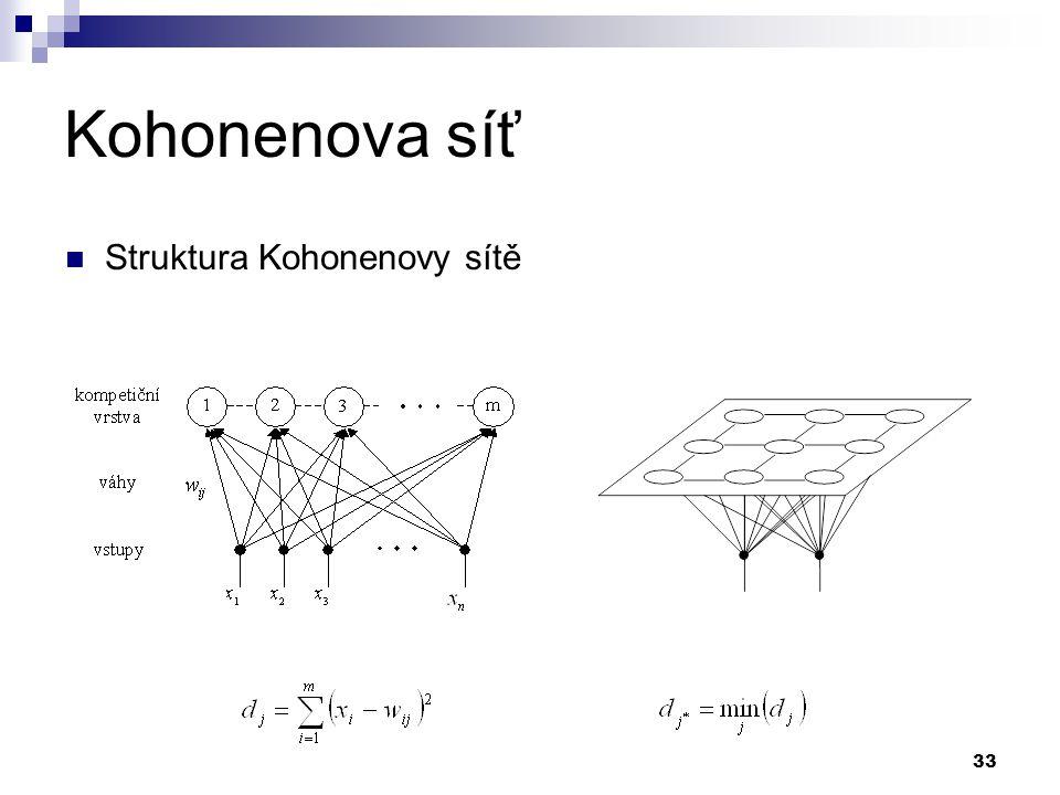 33 Kohonenova síť Struktura Kohonenovy sítě