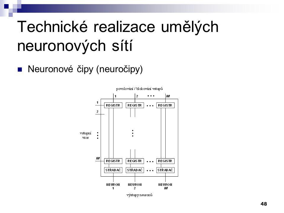 48 Technické realizace umělých neuronových sítí Neuronové čipy (neuročipy)
