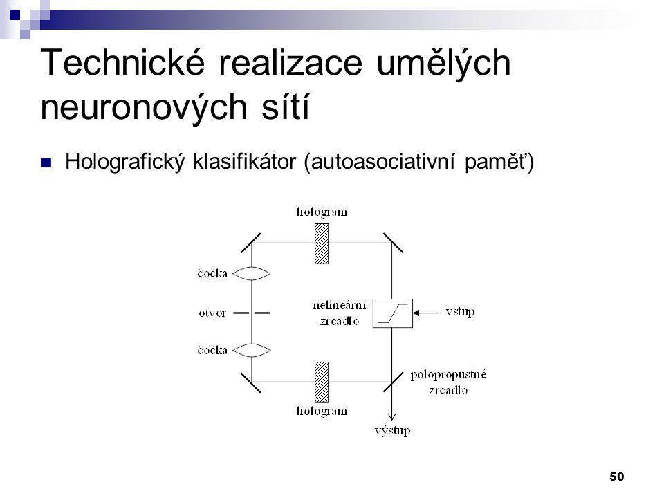 50 Technické realizace umělých neuronových sítí Holografický klasifikátor (autoasociativní paměť)