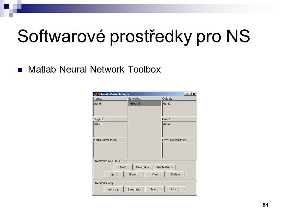 51 Softwarové prostředky pro NS Matlab Neural Network Toolbox