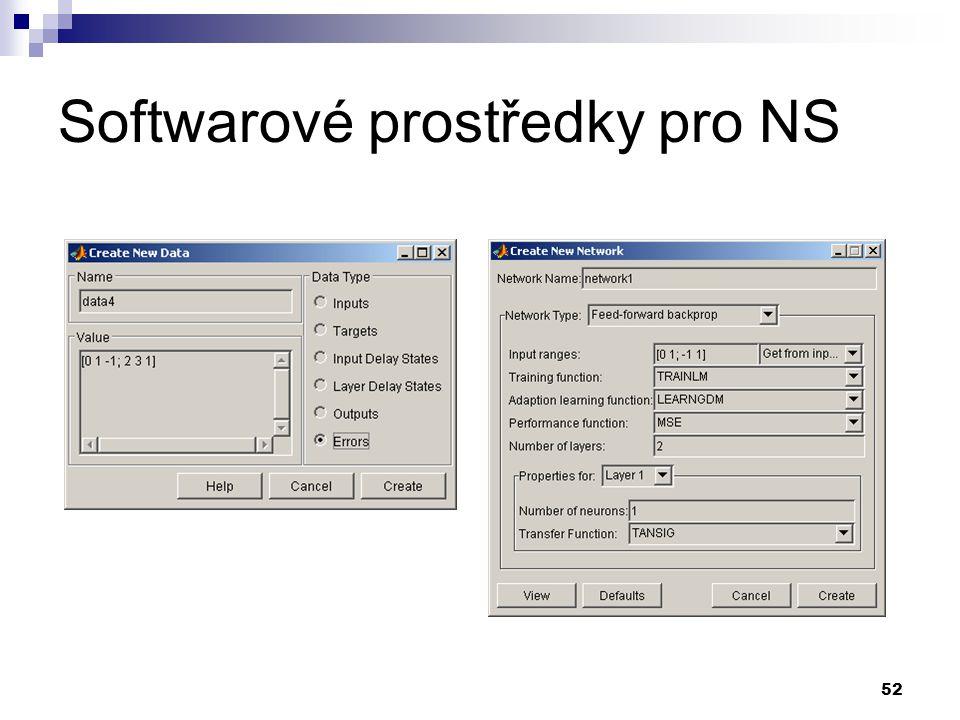 52 Softwarové prostředky pro NS