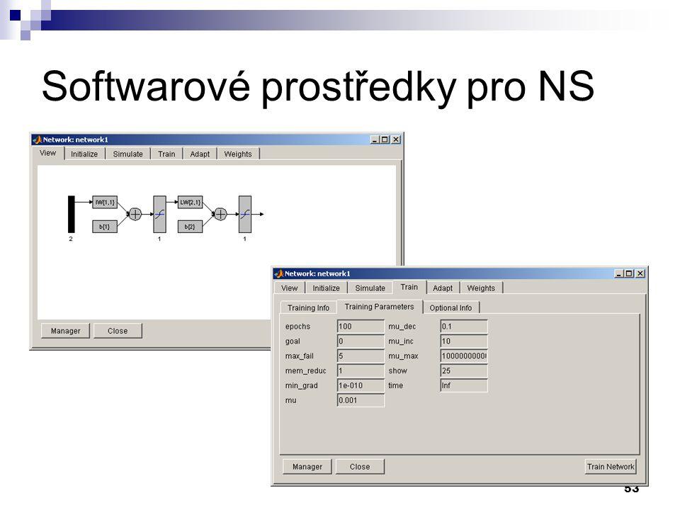 53 Softwarové prostředky pro NS