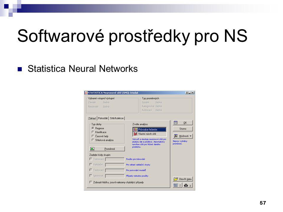 57 Softwarové prostředky pro NS Statistica Neural Networks