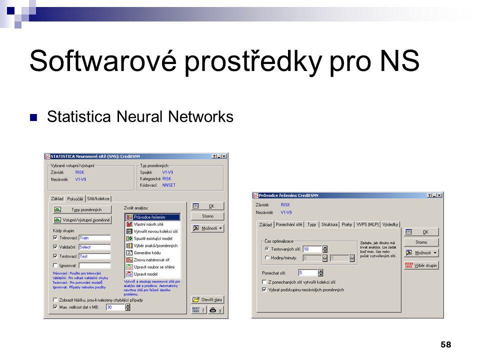 58 Softwarové prostředky pro NS Statistica Neural Networks