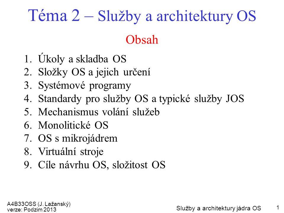 A4B33OSS (J. Lažanský) verze: Podzim 2013 Služby a architektury jádra OS 1 Obsah Téma 2 – Služby a architektury OS 1.Úkoly a skladba OS 2.Složky OS a