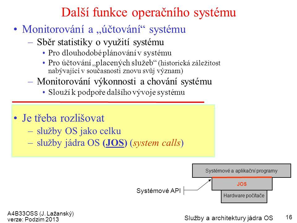 """A4B33OSS (J. Lažanský) verze: Podzim 2013 Služby a architektury jádra OS 16 Další funkce operačního systému Monitorování a """"účtování"""" systému –Sběr st"""