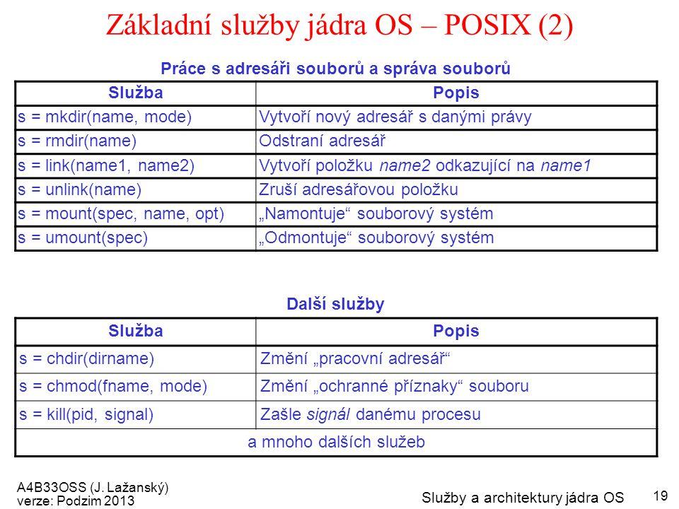 A4B33OSS (J. Lažanský) verze: Podzim 2013 Služby a architektury jádra OS 19 Základní služby jádra OS – POSIX (2) Práce s adresáři souborů a správa sou