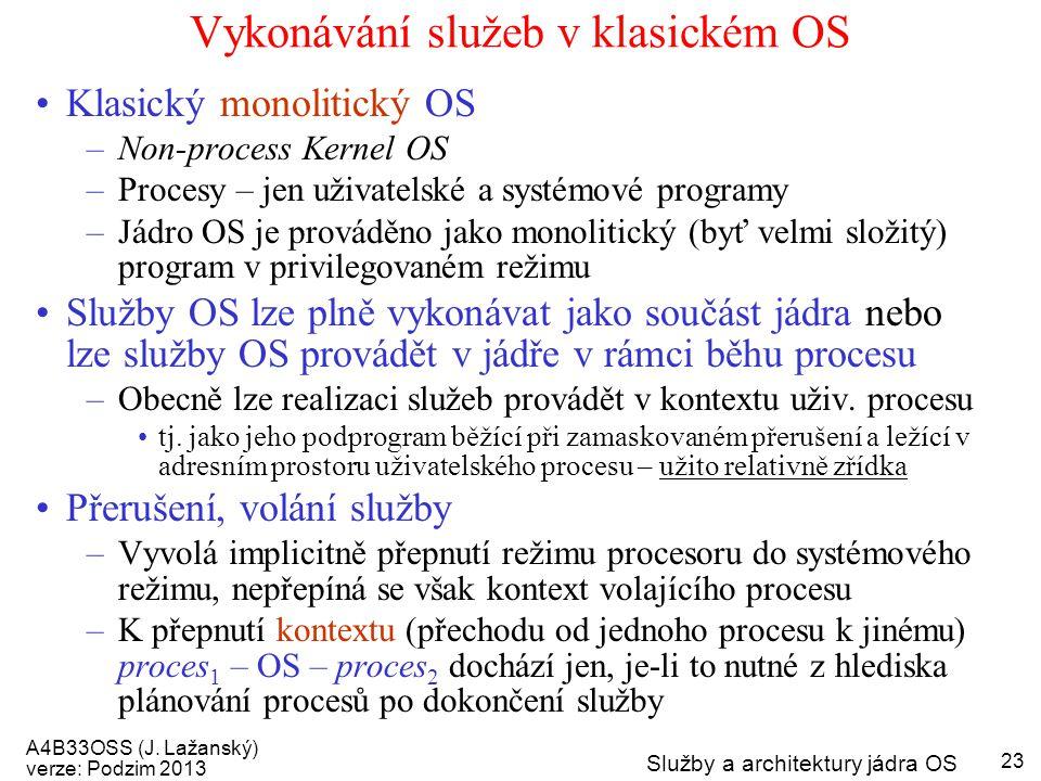 A4B33OSS (J. Lažanský) verze: Podzim 2013 Služby a architektury jádra OS 23 Vykonávání služeb v klasickém OS Klasický monolitický OS –Non-process Kern