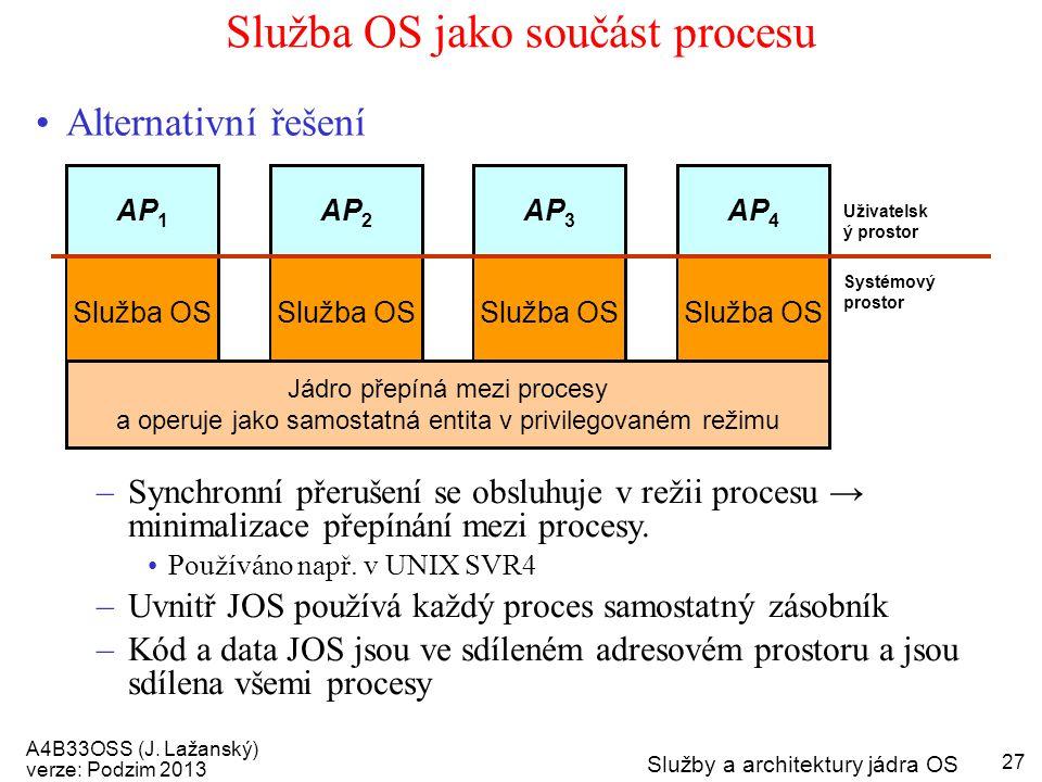 A4B33OSS (J. Lažanský) verze: Podzim 2013 Služby a architektury jádra OS 27 Služba OS jako součást procesu Alternativní řešení –Synchronní přerušení s