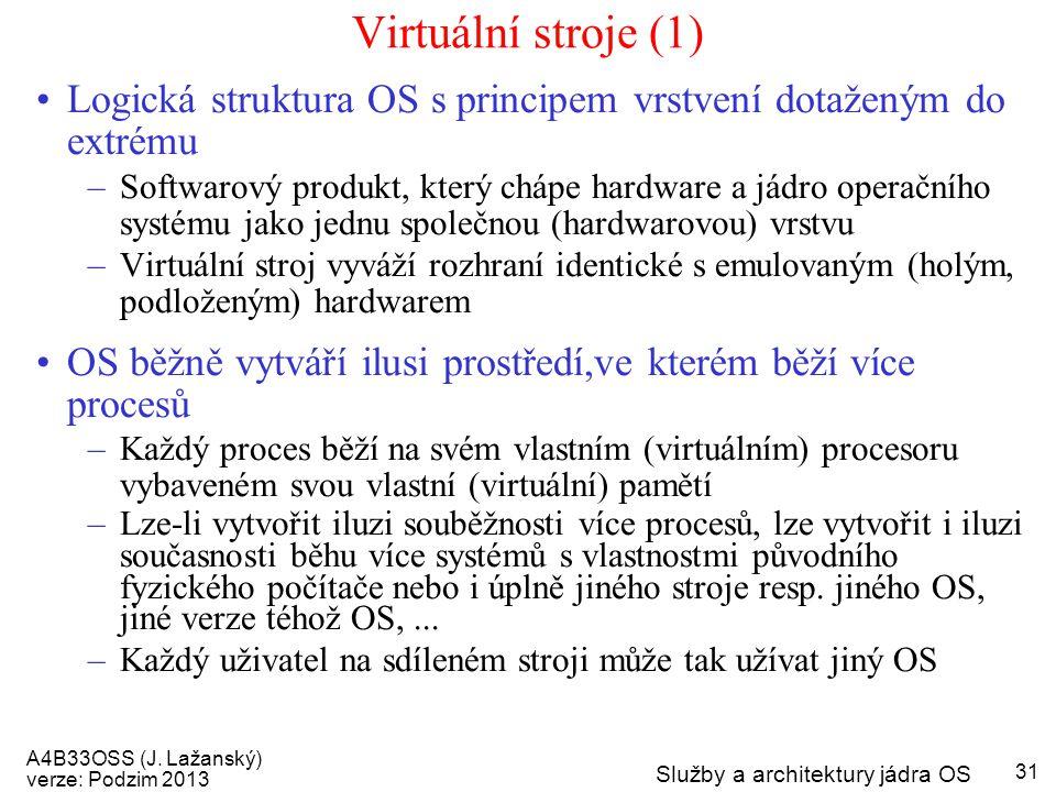A4B33OSS (J. Lažanský) verze: Podzim 2013 Služby a architektury jádra OS 31 Virtuální stroje (1) Logická struktura OS s principem vrstvení dotaženým d