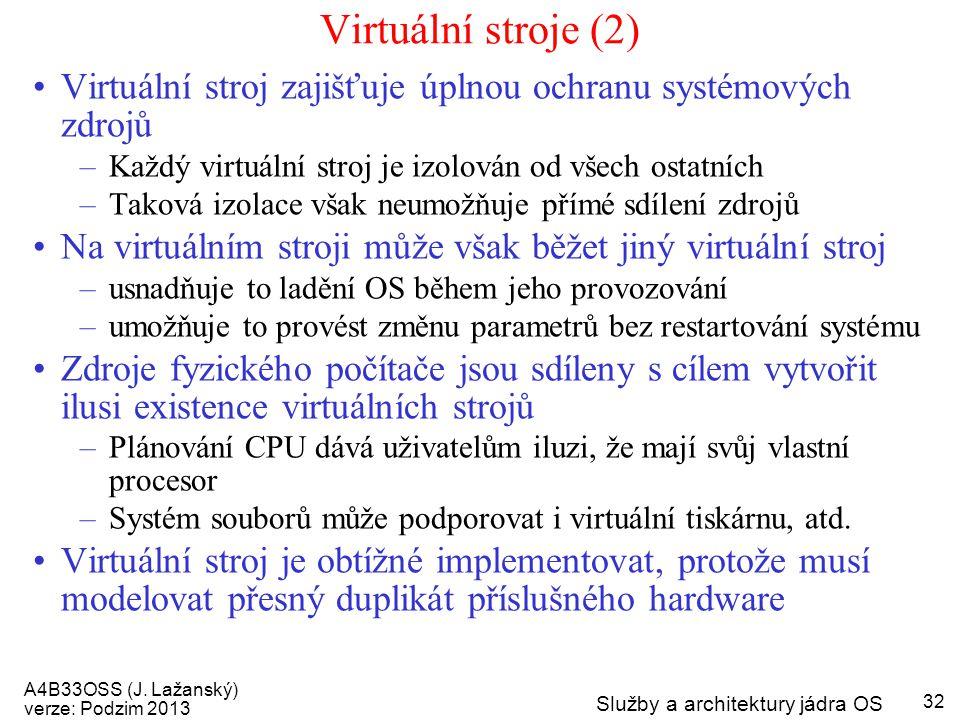 A4B33OSS (J. Lažanský) verze: Podzim 2013 Služby a architektury jádra OS 32 Virtuální stroje (2) Virtuální stroj zajišťuje úplnou ochranu systémových