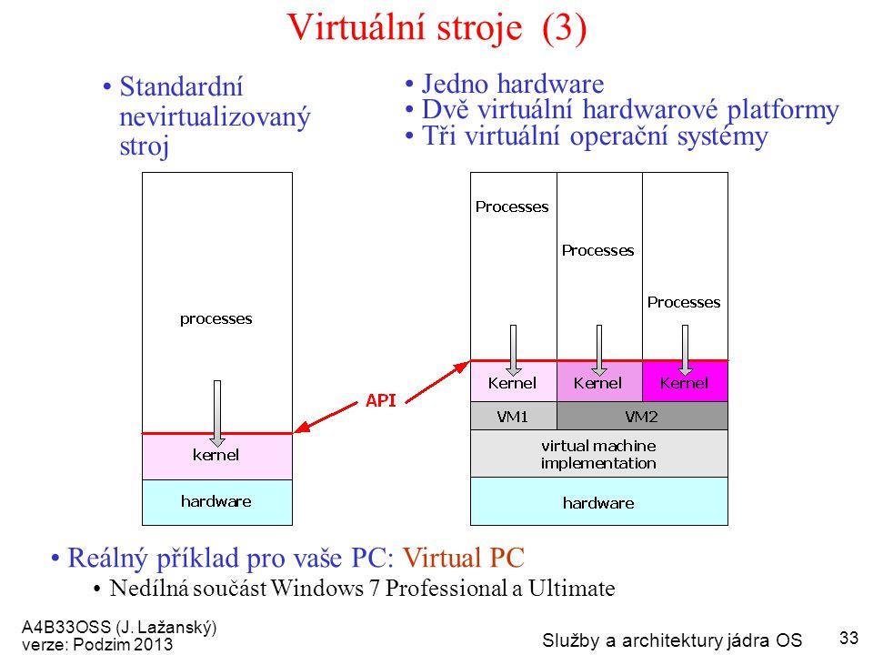 A4B33OSS (J. Lažanský) verze: Podzim 2013 Služby a architektury jádra OS 33 Virtuální stroje (3) Standardní nevirtualizovaný stroj Jedno hardware Dvě