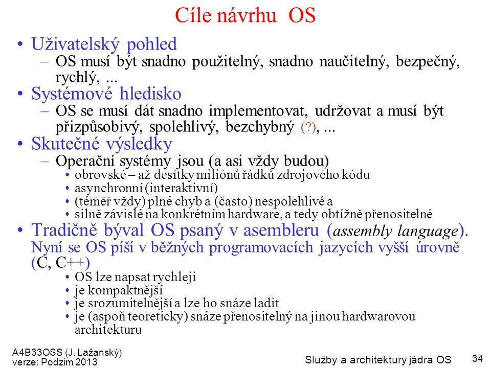 A4B33OSS (J. Lažanský) verze: Podzim 2013 Služby a architektury jádra OS 34 Cíle návrhu OS Uživatelský pohled –OS musí být snadno použitelný, snadno n