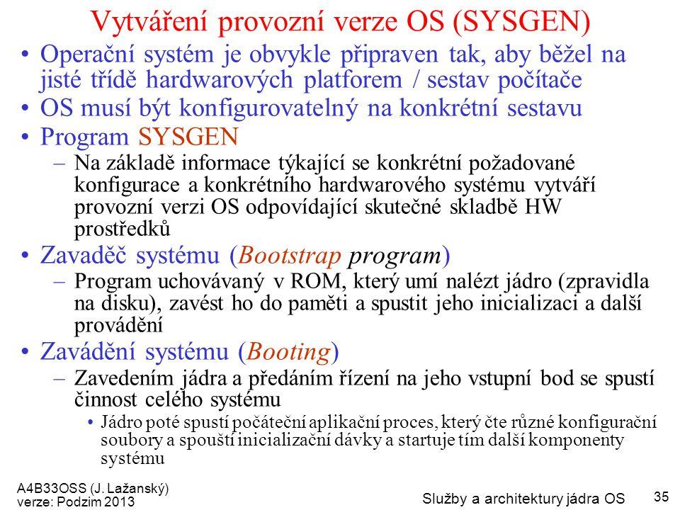 A4B33OSS (J. Lažanský) verze: Podzim 2013 Služby a architektury jádra OS 35 Vytváření provozní verze OS (SYSGEN) Operační systém je obvykle připraven