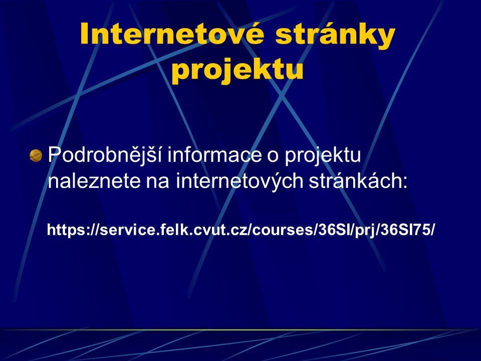 Internetové stránky projektu Podrobnější informace o projektu naleznete na internetových stránkách: https://service.felk.cvut.cz/courses/36SI/prj/36SI75/