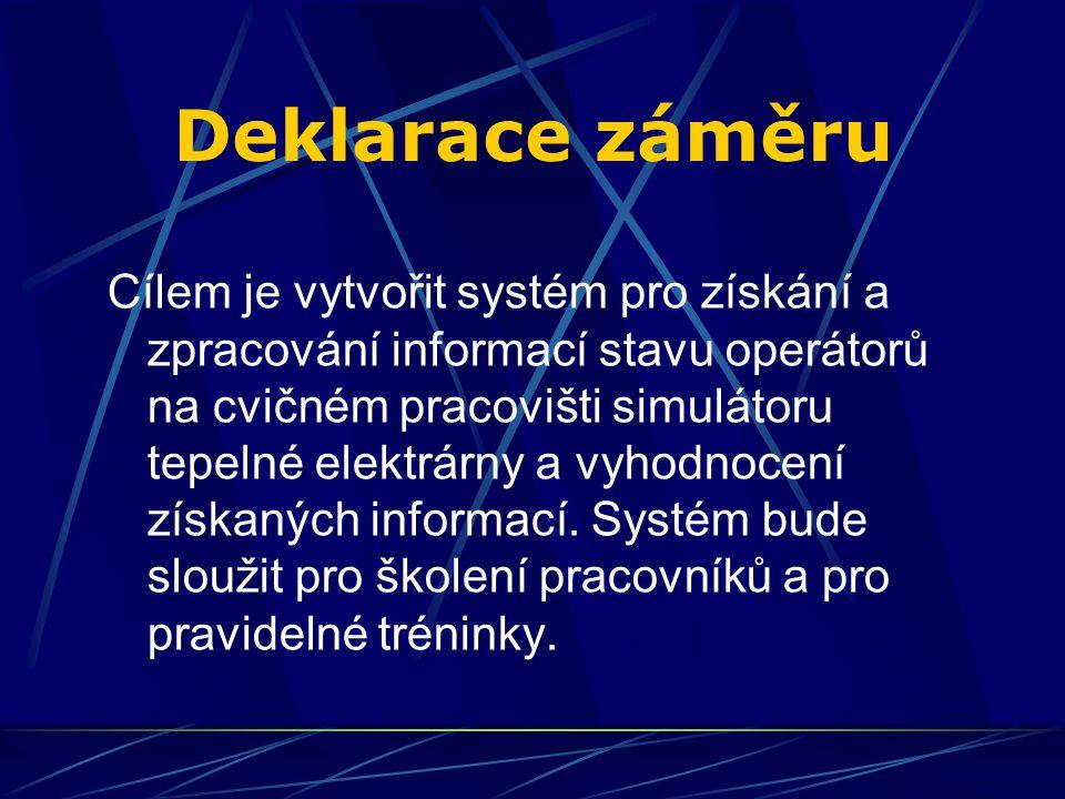 Deklarace záměru Cílem je vytvořit systém pro získání a zpracování informací stavu operátorů na cvičném pracovišti simulátoru tepelné elektrárny a vyhodnocení získaných informací.