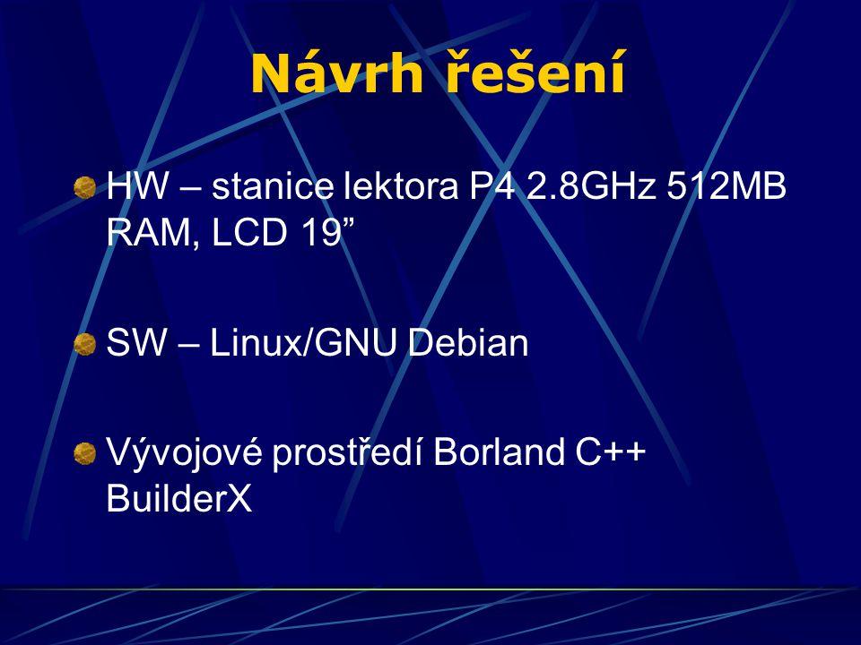 Návrh řešení HW – stanice lektora P4 2.8GHz 512MB RAM, LCD 19 SW – Linux/GNU Debian Vývojové prostředí Borland C++ BuilderX
