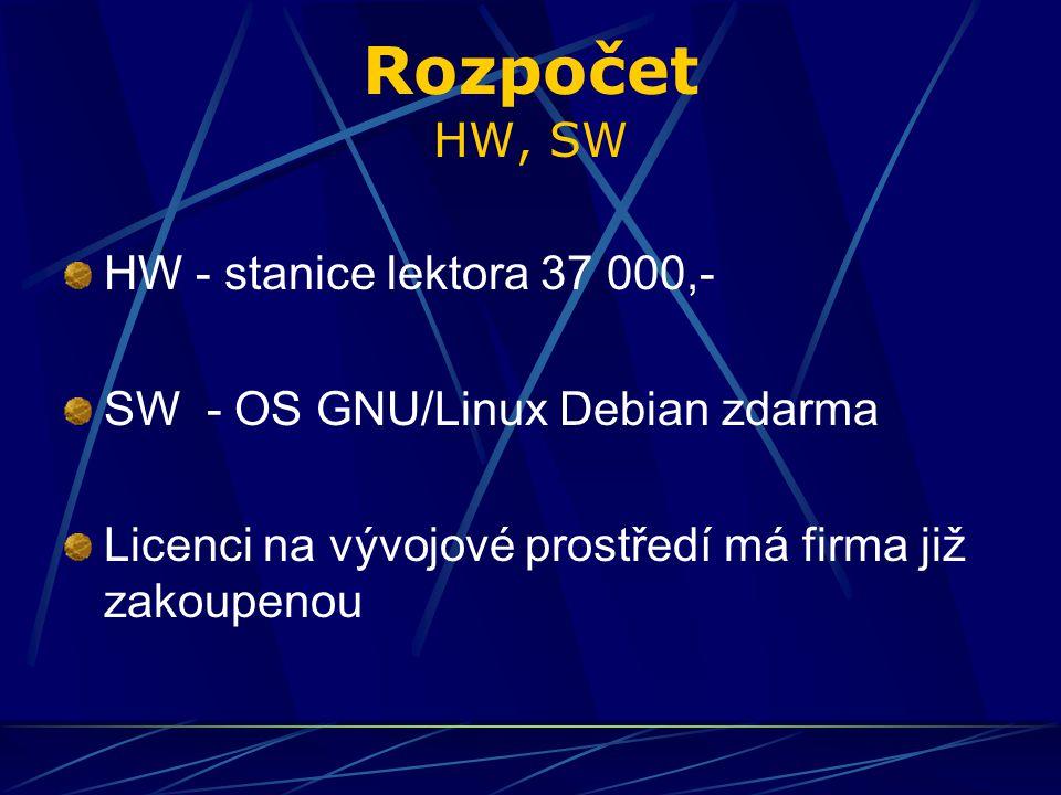 Rozpočet HW, SW HW - stanice lektora 37 000,- SW - OS GNU/Linux Debian zdarma Licenci na vývojové prostředí má firma již zakoupenou