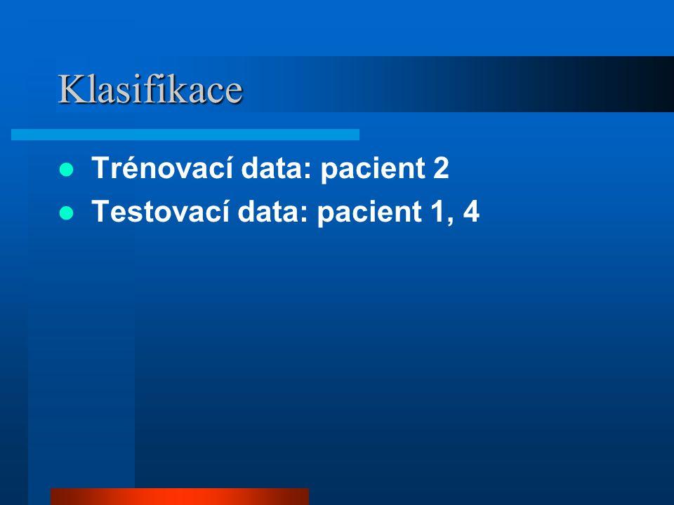 Klasifikace Trénovací data: pacient 2 Testovací data: pacient 1, 4