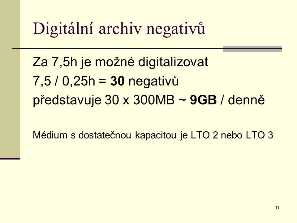 11 Digitální archiv negativů Za 7,5h je možné digitalizovat 7,5 / 0,25h = 30 negativů představuje 30 x 300MB ~ 9GB / denně Médium s dostatečnou kapacitou je LTO 2 nebo LTO 3