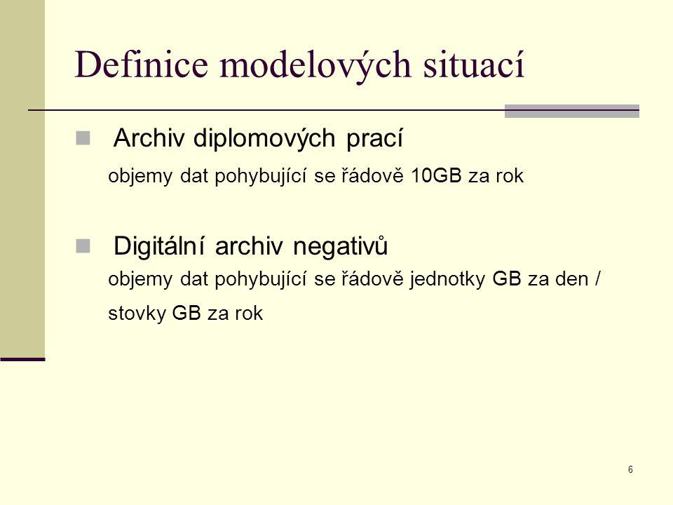 6 Definice modelových situací Archiv diplomových prací objemy dat pohybující se řádově 10GB za rok Digitální archiv negativů objemy dat pohybující se řádově jednotky GB za den / stovky GB za rok